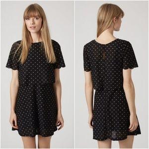 Topshop black daisy scalloped overlay dress